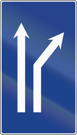 fork in road: Road sign used in Spain - Fork right onto dual carriageway.