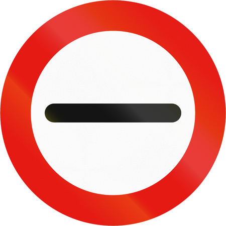 Road sign used in Spain - Prohibition of passing without stopping.