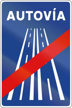 means to an end: Road sign used in Spain - End of motorway. Autovia means motorway.