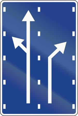 lane: Road sign used in Spain - Lane preselection. Stock Photo
