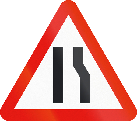 narrows: Road sign used in Spain - Narrowing of carriageway on the right.