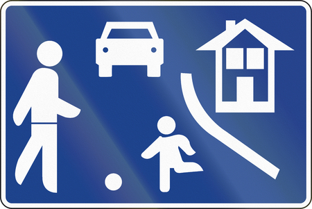 residential zone: Road sign used in Spain - Residential area. Stock Photo