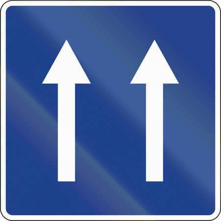 lanes: Road sign used in Spain - Two lanes one-way road.