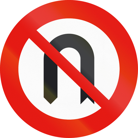 uturn: Road sign used in Spain - no U-turn. Stock Photo