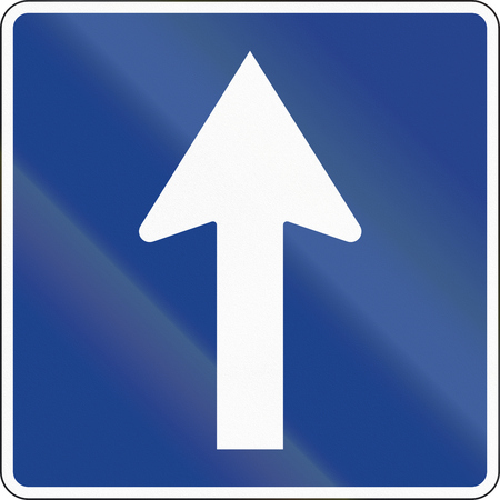 quadratic: Road sign used in Spain - One-way road.