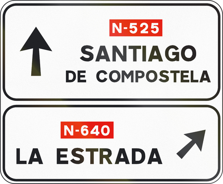santiago: Road sign used in Spain - Direction sign.