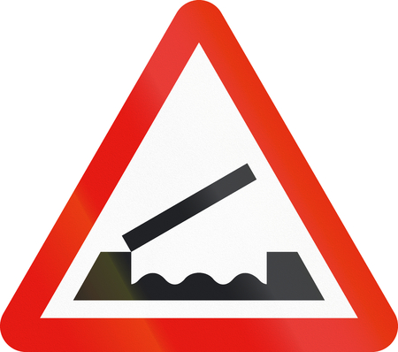 movable bridge: Road sign used in Spain - Movable bridge.