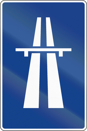 freeway: Road sign used in Spain - Freeway. Stock Photo