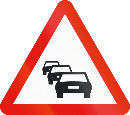 congestion: Road sign used in Spain - Congestion. Stock Photo