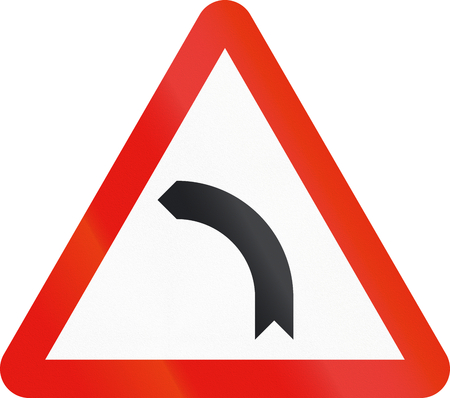 curve road: Road sign used in Spain - Dangerous curve to the left. Stock Photo