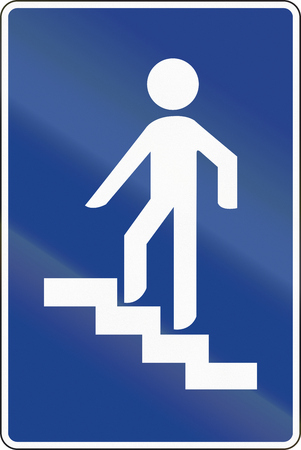 pedestrian: Road sign used in Spain - Pedestrian overpass. Stock Photo