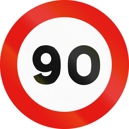 maximum: Road sign used in Spain - Maximum speed. Stock Photo