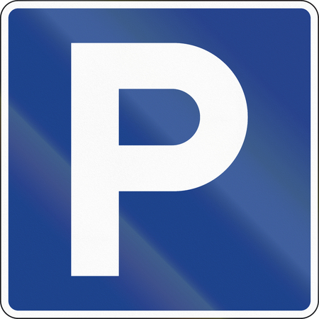 quadratic: Road sign used in Spain - Parking. Stock Photo