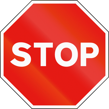 single color image: Road sign used in Spain - Stop.