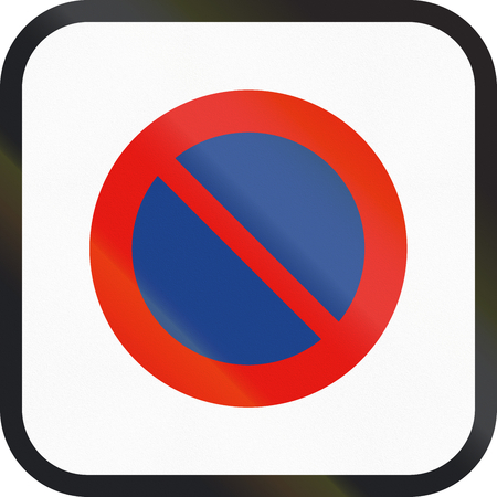 restriction: Road sign used in Spain - Parking restriction.