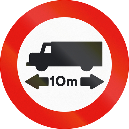limitation: Road sign used in Spain - Length Limitation.
