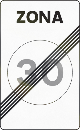 means to an end: Road sign used in Spain - End Speed limit zone. Zona means zone.