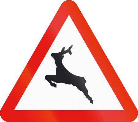 the passage: Road sign used in Spain - Passage of wild animals. Stock Photo