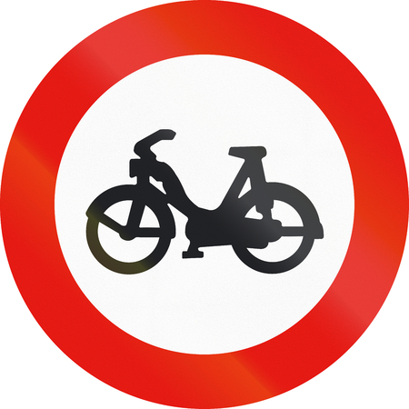 mopeds: Road sign used in Spain - entry forbidden to mopeds.
