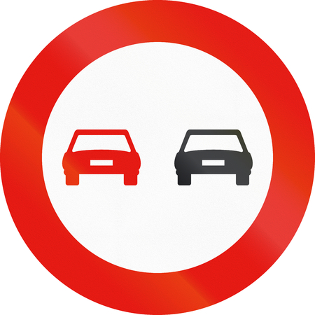 no overtaking: Road sign used in Spain - Overtaking prohibited.