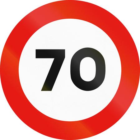 maximum: Road sign used in Spain - Maximum speed. Stock Photo