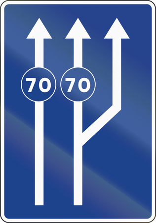 lanes: Road sign used in Spain - Lanes for traffic based on the posted speed.