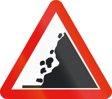 signos de precaucion: La señal de tráfico utilizado en España - La caída de rocas a la derecha.