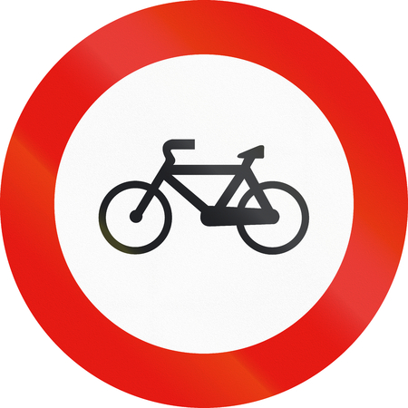 cycles: Road sign used in Spain - Forbidden entry to cycles.