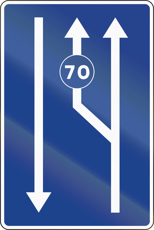 posted: Road sign used in Spain - Lanes for traffic based on the posted speed.