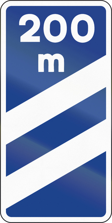 distance marker: Road sign used in Spain - Highway exit distance marker.