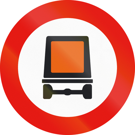 dangerous goods: Road sign used in Spain - Forbidden entry to vehicles carrying dangerous goods.