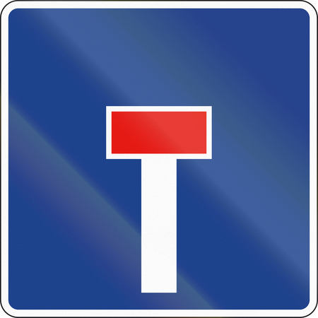 dead end: Road sign used in Spain - Dead end. Stock Photo