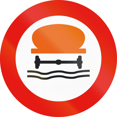 Road sign used in Spain - Forbidden entry to vehicles carrying water pollutants. Stock Photo