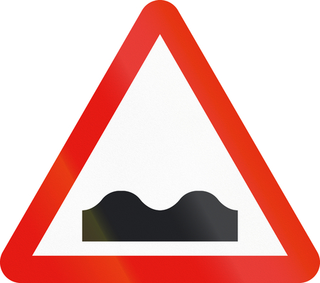 uneven: Road sign used in Spain - Uneven road.