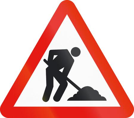 roadworks: Road sign used in Spain - Roadworks.