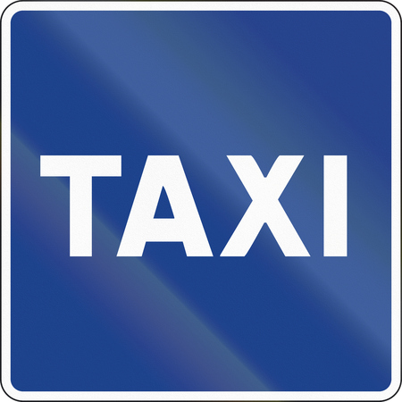 single color image: Road sign used in Spain - Place reserved for taxis. Stock Photo
