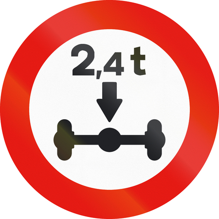 axle: Road sign used in Spain - Axle load limitation.
