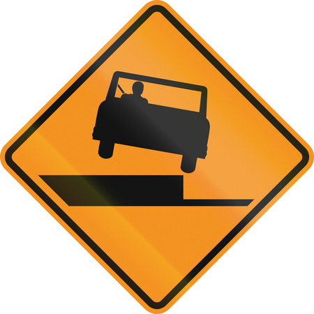roadworks: United States MUTCD road sign - Uneven road. Stock Photo