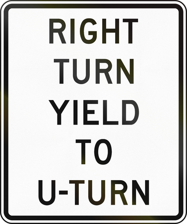 u turn sign: Road sign used in the US state of Delaware - right turn yield to u-turn.