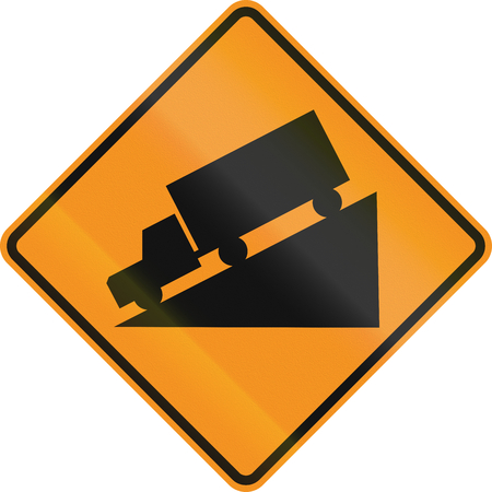roadworks: Temporary road control version - Steep decline.