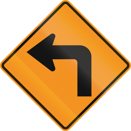 on temporary: Temporary road control version - Left turn.