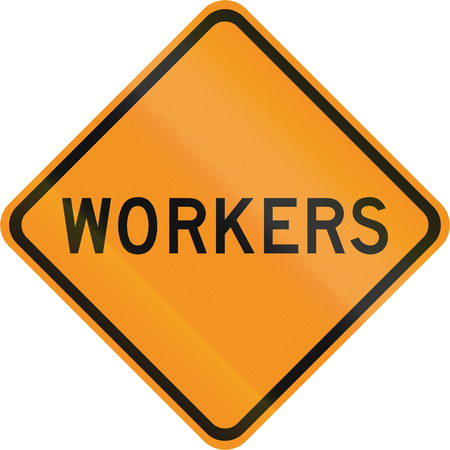 temporary workers: United States MUTCD road sign - Workers.