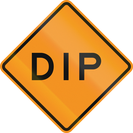 roadworks: Temporary road control version - Dip. Stock Photo
