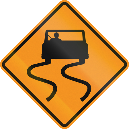 skidding: Temporary road control version - Slip danger.
