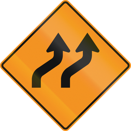 on temporary: Temporary road control version - Double curve. Stock Photo