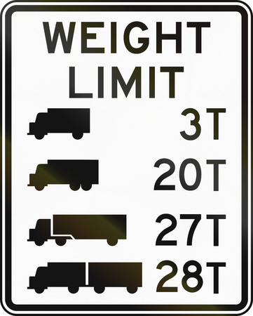 tons: Road sign used in the US state of Delaware - Truck weight limits. Stock Photo