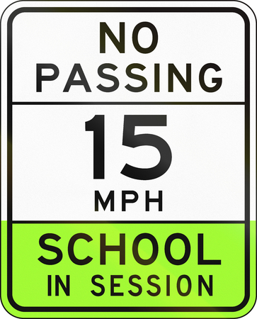 mph: Road sign used in the US state of Arizona - school zone.