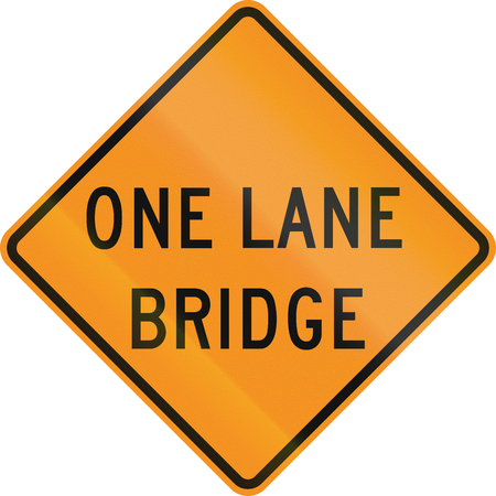 one lane road sign: United States MUTCD road sign - One lane bridge. Stock Photo