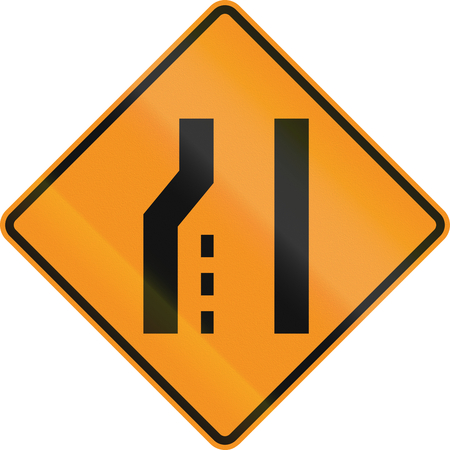 roadworks: United States MUTCD road sign - Road narrows. Stock Photo
