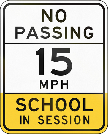 no overtaking: Road sign used in the US state of Arizona - school zone.